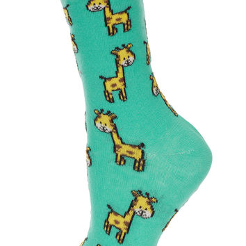 Aqua Giraffe Ankle Socks - Tights & Socks - Clothing - Topshop USA