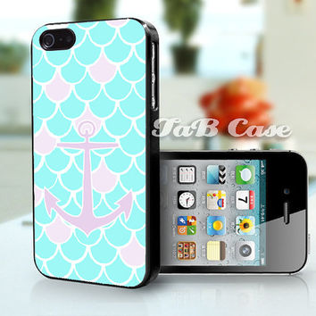 Mermaid Scales with Anchor iPhone Case. iPhone 4 Case - iPhone 5 Case - iPhone 6 case. Nautical Theme.