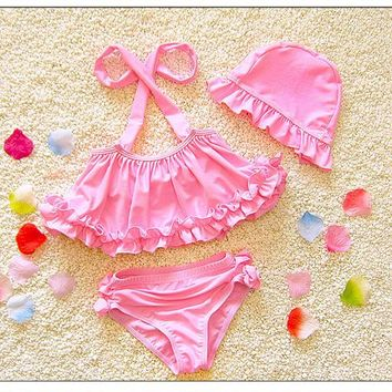 Lovely Swimsuits Set Girls Swimwear W/Cap Two Piece Kids Baby Swimming Outfits Children Bathing Suits 2018 DBO