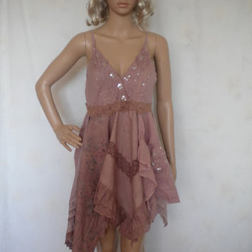 coachella festive style bohemian lagenlook upcycled mini dress tunic hand dyed to dusty pink Small to Medium