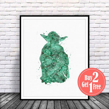ON SALE: Yoda star wars Yoda, star wars poster, yoda print, star wars wall decor, star wars decor, star wars yoda, Star Wars Print, Luke Sky