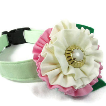 Dog Collar and flower - MADE TO ORDER Classic Mint Green and pink flower - wedding dog collar, dog collar flower, mint green dog collar