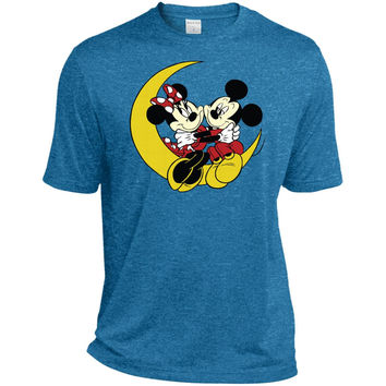 Merry Christmas and Happy New Year Mickey Mouse and moon  ST360 Sport-Tek Heather Dri-Fit Moisture-Wicking T-Shirt