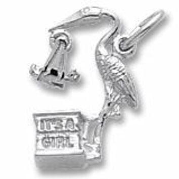 Stork,Girl Charm In 14K White Gold