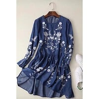 Floral Embroidered Tencel Denim Casual Dress
