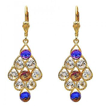 Gold Layered 02.270.0002 Chandelier Earring, Teardrop Design, with White Cubic Zirconia and  Crystal, Polished Finish, Gold Tone