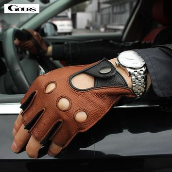 Gours Spring Men's Genuine Leather Gloves Driving Unlined 100% Deerskin Half Finger Gloves Fingerless Gym Fitness Gloves M046L