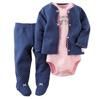 Carter's ''I Love You'' Dog Cardigan Set - Baby Girl, Size: