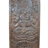 Antique Ganesha Sculpture Wall Panel Wood Carving Door Panels