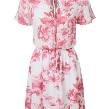 LE3NO Womens Lightweight Flowy Short Sleeve Floral Print Skater Dress