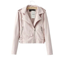 Cool Women's Leather Jackets with Pink Blue Black