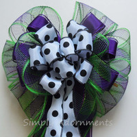Purple Green Halloween Bow Halloween Wreath Bow Halloween Party Decoration Trick or Treat Wreath Door Bow