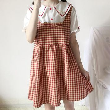 Japanese women's fake two sweet doll collar dresses summer Harajuku high waist kawaii soft sister lattice stitching vadim dress
