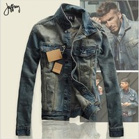 2016 Autumn Men Jean Jacket Men Denim Jackets for men stand collar 100% Cotton outerwear jean jacket men High quality