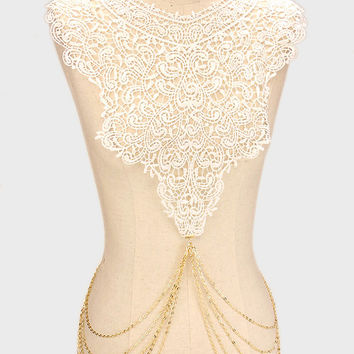White Paisley Floral Lace & Metal Body Chain - Gold