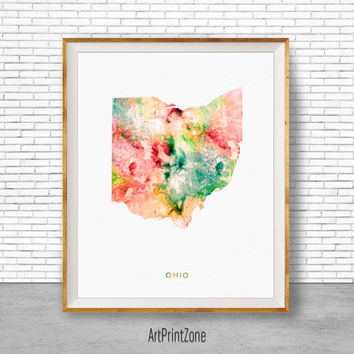 Ohio Map Art Print Ohio Art Print Ohio Decor Ohio Print Office Print Map Print Map Poster Watercolor Map Office Poster ArtPrintZone