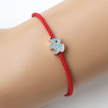 Elephant bracelet, turquoise elephant bracelet, red string bracelet, gift for her, best friend gift, birthday gift, adjustable bracelet