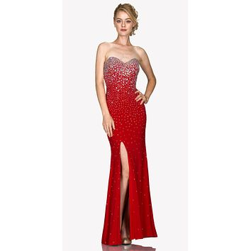 Red Sweetheart Neck Rhinestone Embellished Evening Gown with Slit