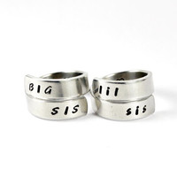 Big Sis Lil Sis Pair Wrap Rings, Big Sister Little Sister Rings, Sister Gift Ring, Bestfriend Rings, Sorority Or Family Adjustable Ring