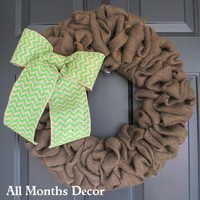 Brown Burlap Wreath with Lime Green Chevron Burlap Bow, Rustic, Country Decor, Spring Easter Fall Winter, Year Round, Fall, Porch Door