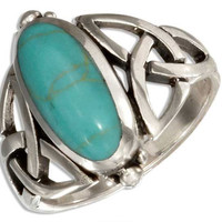 Oval Turquoise Ring With Filigree Celtic Trinity Knots