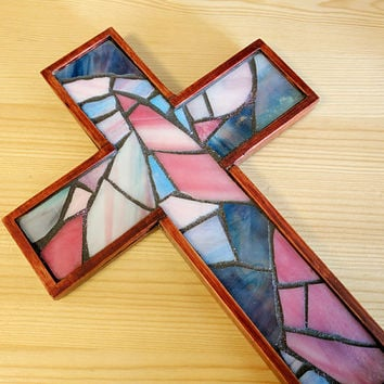 Pink and Blue Wall Cross, Pink/Blue Wooden Mosaic Wall Cross, Small Wooden Wall Cross