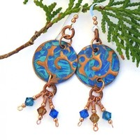 Blue Turquoise Rustic Copper Earrings, Swarovski Crystals Handmade Dangle Jewelry