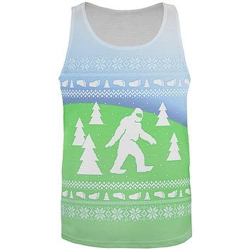 Ugly Christmas Sweater Bigfoot Sasquatch Yeti All Over Mens Tank Top