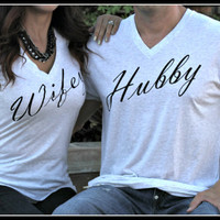 Hubby Shirt, Hubby Mens V-Neck, Wifey Shirt, Bridal Shower Gift, Wedding, Bride Shirt, Bachlor Gift, Mr. Groom To Be