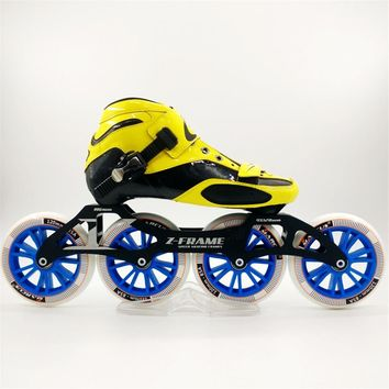 Worth Carbon Fiber Fiberglass Speed Inline Skates Yellow Kid's Adult Competition Street Racing Sport Shoes Training Patines F019