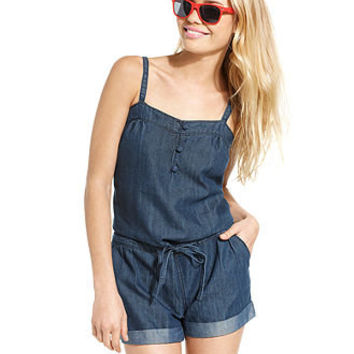 Freestyle Juniors Revolution Jumpsuit, Sleeveless Sweetheart Tie Cuffed Chambray Denim Romper - Juniors Jumpsuits & Rompers - Macy's