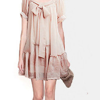 Short Sleeves Sheer Chiffon Bow Accent Loose Style Dress