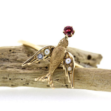 Antique Swallow Ring | Bird Ring | Stacking Ring | 10k Yellow Gold Ring | Garnet Gemstone Ring | Stick Pin Ring | Tiny Animal Ring | Size 8