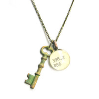 Verdigris Aged Brass Skeleton Key Brass Dewey Decimal Librarian Necklace by The Written Nerd