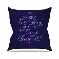 """Noonday Design """"Every Love Story Is Beautiful"""" Blue Purple Outdoor Throw Pillow"""