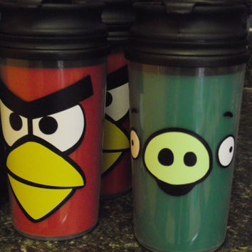 Red Angry Birds, Green Angry Pig Tumbler Cup Drink Favor for Birthday Party