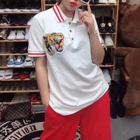 """Gucci"" Women Casual Multicolor Stripe Lapel Tiger Head Embroidery Short Sleeve Polo Shirt Top Tee"