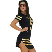 Brand New Women's Black Number 5 Gold Sequin Jersey Dress