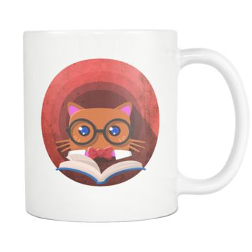 Nerdy Cat Funny Book Nerd Librarians 11oz Mug