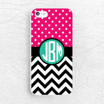 Chevron Polka dots Monogram Initial Phone Case for iPhone, Sony z1 z2 z3 compact, LG g2 g3 nexus 5, HTC, Custom made with personalized name