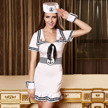 Europe and the United States sexy dance and navy sailor suit clothing women show clothing fan CaiQun camouflage