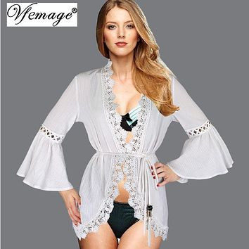 Vfemage Sexy Lace Crochet Loose Flare Sleeve Tops blouse Girl Ladies Womens Casual Bathing Summer Beachwear Beach Cover up 4877