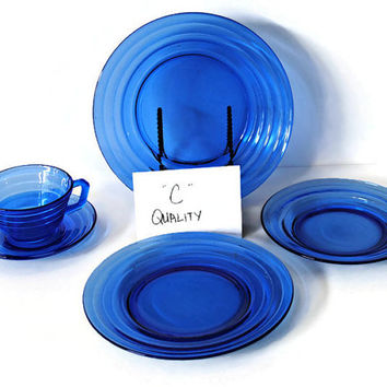 Hazel Atlas Moderntone Depression Glass 5-Piece Place Setting - (100.65)