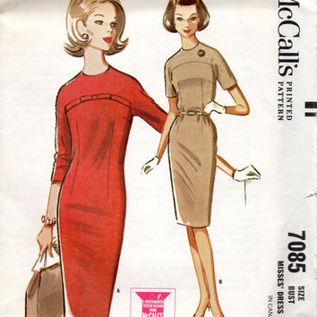 1960s Retro Wiggle Dress McCall's 7085 Sewing Pattern Mad Men Style High Yoke Dart Fitted Secretary Jackie O Fashion Bust 34
