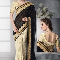 White Georgette Saree with Blouse - SAREE - Women