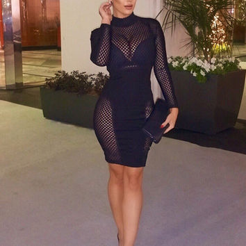 Gabby Sheer Detail Long Sleeve Bandage Dress