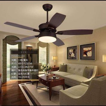 American country ceiling chandelier fan living room dining room chandelier fans retro LED ceiling chandelier leaves of Fan light