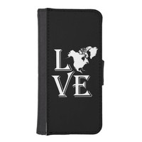 Love North America Continent Phone Wallet Cases
