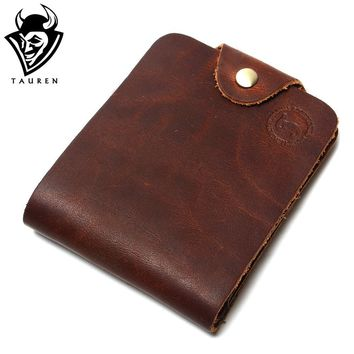 Retro High Quality Casual Genuine Crazy Horse Leather Cowhide Men Short Bifold Wallets Billfold Purse For Men