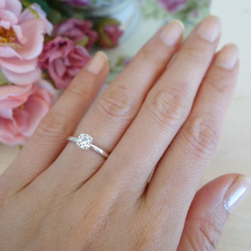 1/2 Carat 5mm Solitaire Engagement Ring, 4 Prong, Round Man Made